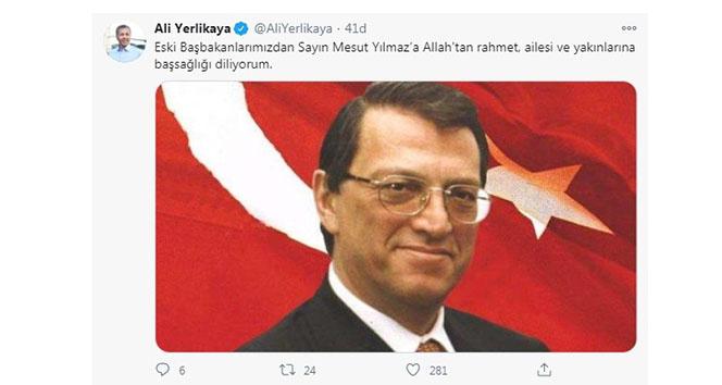 İstanbul Valisi Ali Yerlikaya: 'Mesut Yılmaz'a Allah'tan rahmet, ailesi başsağlığı diliyorum'