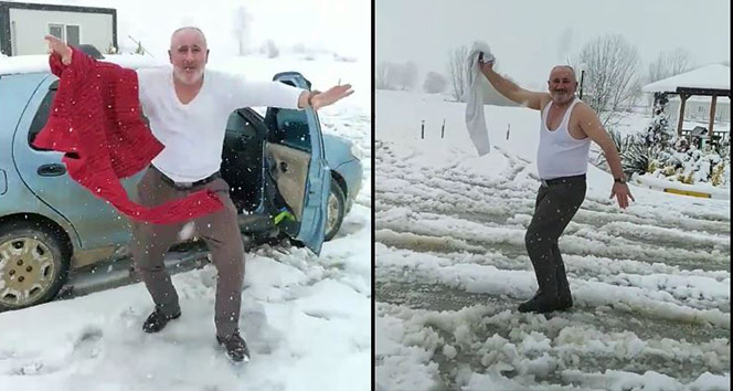 Eski muhtar soğuğa meydan okudu: Karda üstünü çıkarıp çılgınca oynadı
