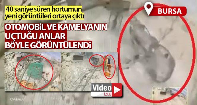 Bursa'da lodosun uçurduğu otomobil ve kamelya kameralara yansıdı