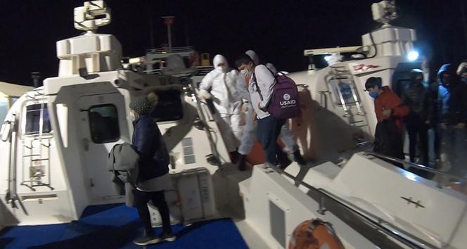 Yunan unsurlarının Türk karasularına ittiği 12 göçmen kurtarıldı