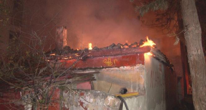 İzmir'de tek katlı metruk evde yangın paniği