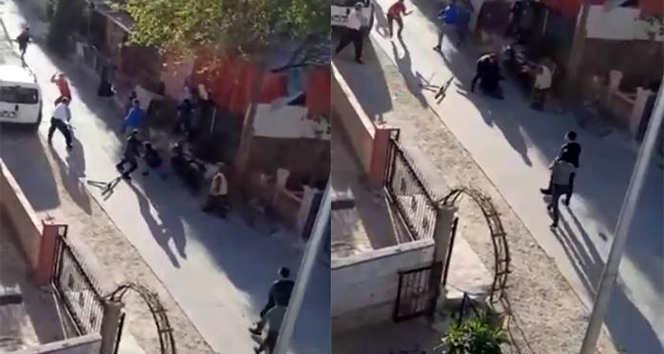 Komşuların taşlı sopalı kavgası cep telefonu kamerasında