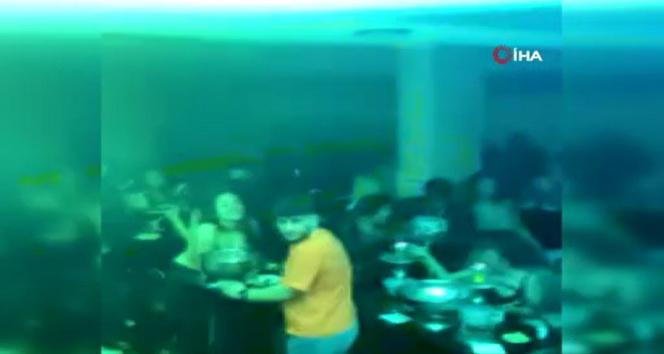 Beyoğlu'nda üstü kafe altı gece kulübüne baskın kamerada