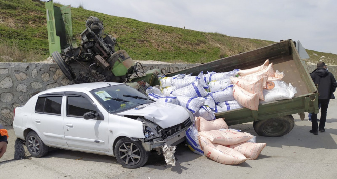 Bu kazayı burunları bile kanamadan atlattılar