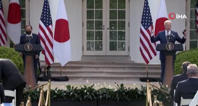 ABD Başkanı Joe Biden ve Japonya Başbakanı Yoshihide Suga bugün Beyaz Saray'da bir araya geldi