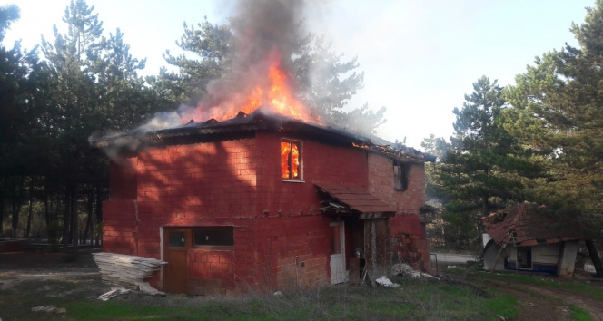 Mesire alanı içindeki 2 katlı evde yangın