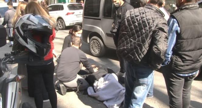 Nişantaşı'nda motokuryenin çarptığı yayaya vatandaşlar yardım etti