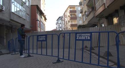 Zeytinburnunda çöken binanın çevresi güvenlik amaçlı barikatlarla kapatıldı