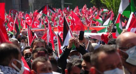 Trabzonda vatandaşlar Filistine destek için yürüdü