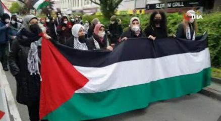Almanyada Filistine destek yürüyüşü düzenlendi