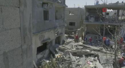 İsrailin Gazzede vurduğu Beyt Hanundaki yıkım görüntülendi