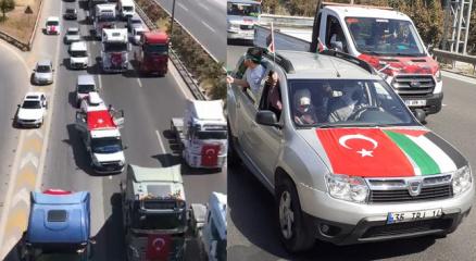 İzmirde onlarca araçla Filistine destek konvoyu