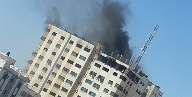 İsrail savaş uçakları çok katlı bir binayı vurdu