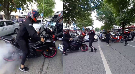 Bağdat Caddesinde düğün konvoyunun önünü kesen motosikletliler pes dedirtti