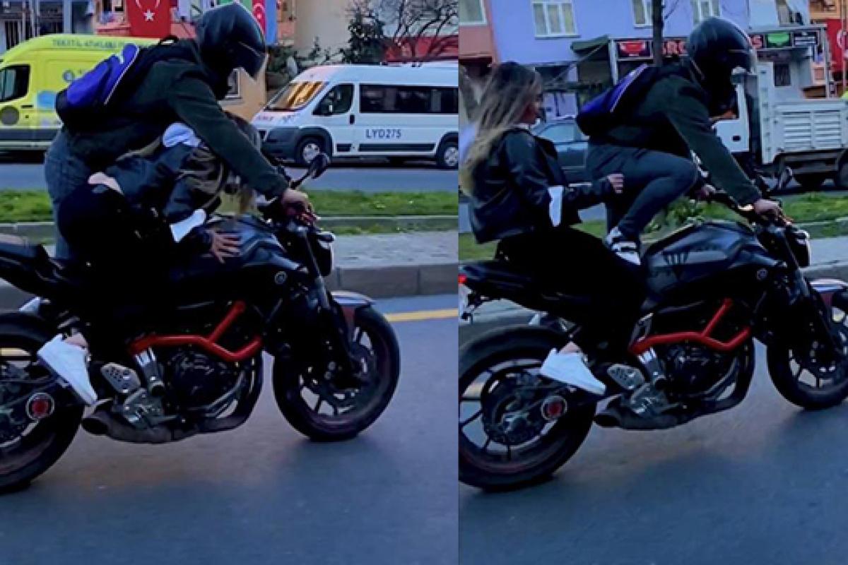 """İstanbul trafiğinde """"pes"""" dedirten görüntü: Kız arkadaşıyla motorda yer değiştirdi"""