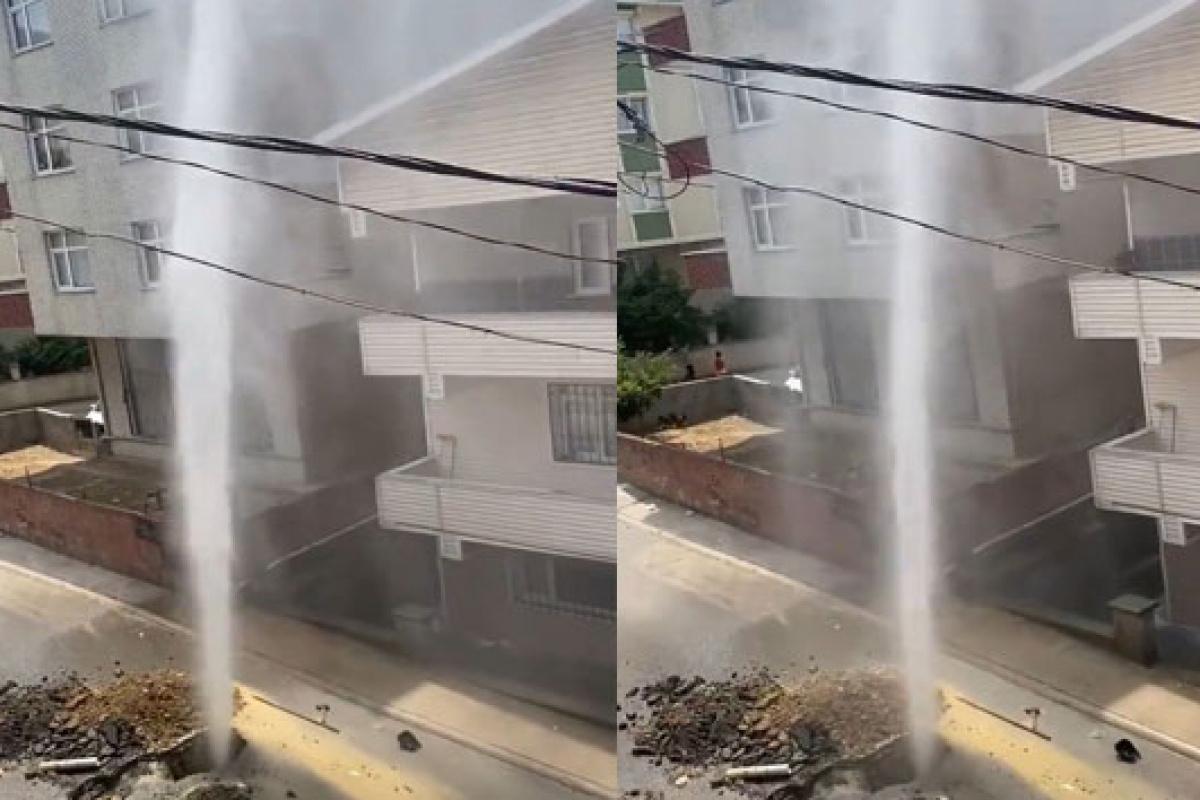 Pendik'te su borusu patladı; tazyikli su apartmanın yüksekliğine ulaştı