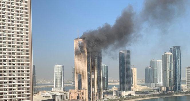 BAEnde inşaat halindeki binada korkutan yangın
