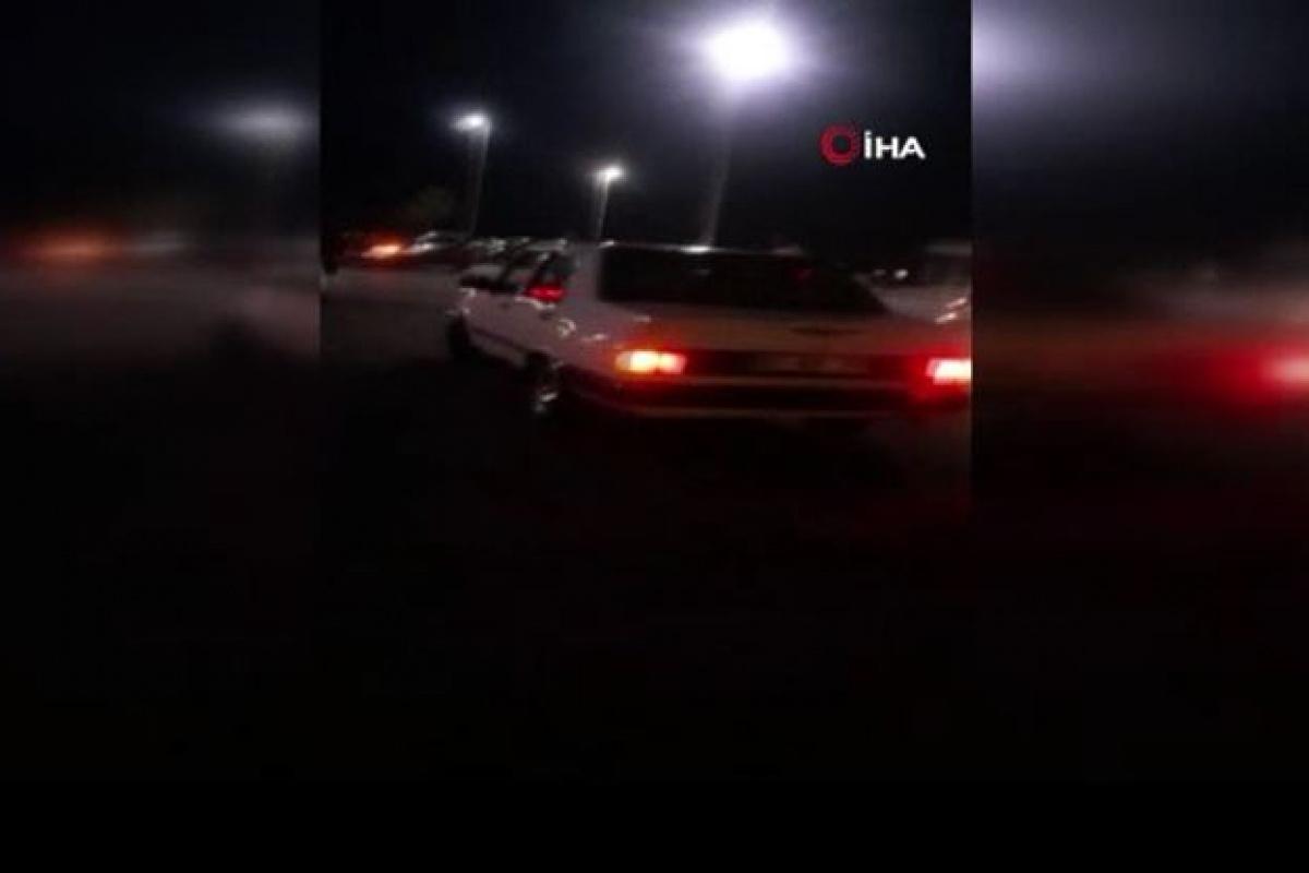 Asker eğlencesinde drift yapan trafik magandaları kamerada