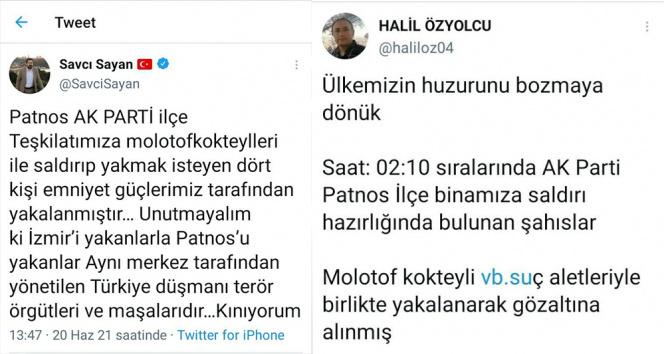 Patnosta AK Partiye molotoflu saldırı düzenlemek isteyen 4 kişi gözaltına alındı