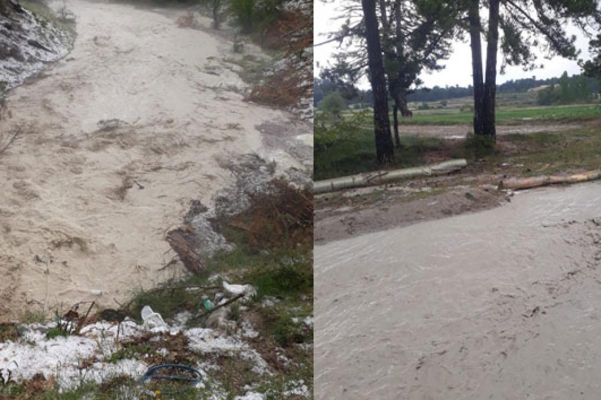 Çameli'de sağanak yağış sele dönüştü