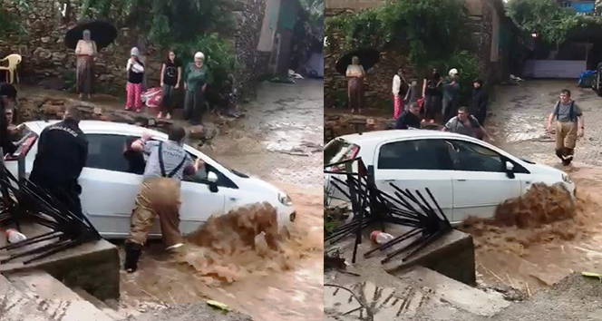 Ödemişi sağanak vurdu: Sel sularına kapılan bir araç kurtarıldı