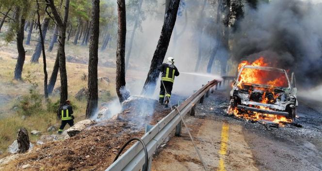 Fethiyede araç yangını