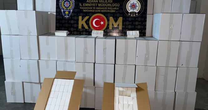 Adanada 20 milyon 515 bin bandrolsüz makaron ele geçirildi