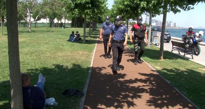 Bakırköyde Atlı polisler ve drone eşliğinde korana virüs denetimi