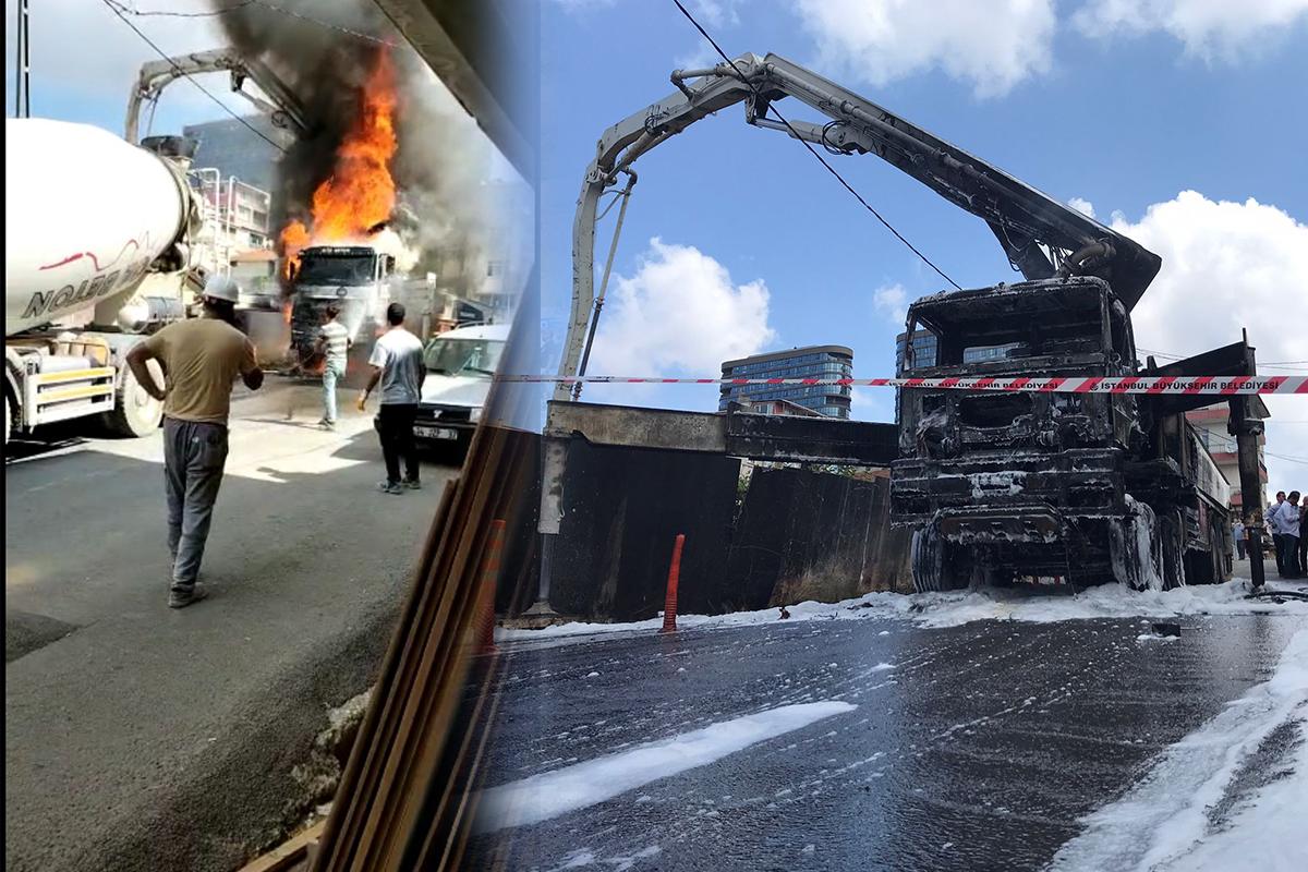 Kadıköy'de beton pompası alev alev yandı