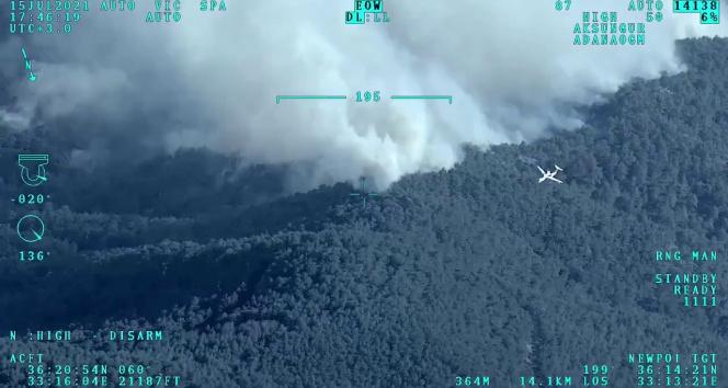 Mersindeki orman yangınına müdahaleye İHAlarla destek veriliyor