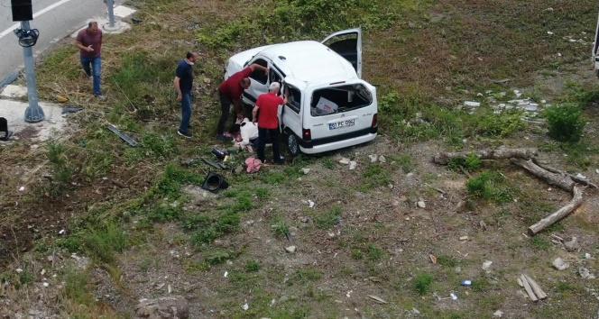 Giresunda kaza anı drone ile görüntülendi