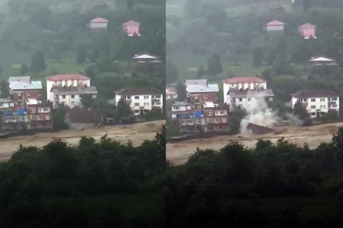 Artvin'in Arhavi ilçesinde dere kenarındaki ev sel sularına kapıldı