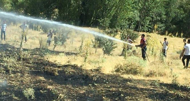 Bingölde korkutan yangın: Alevler tarlalara ulaşmadan söndürüldü