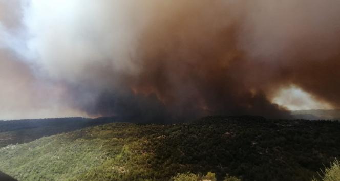Antalyadaki orman yangını büyüyor! Rüzgar müdahaleyi zorlaştırıyor