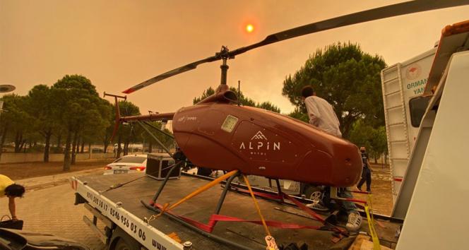 Manavgattaki yangın insansız helikopter ile gözlenecek