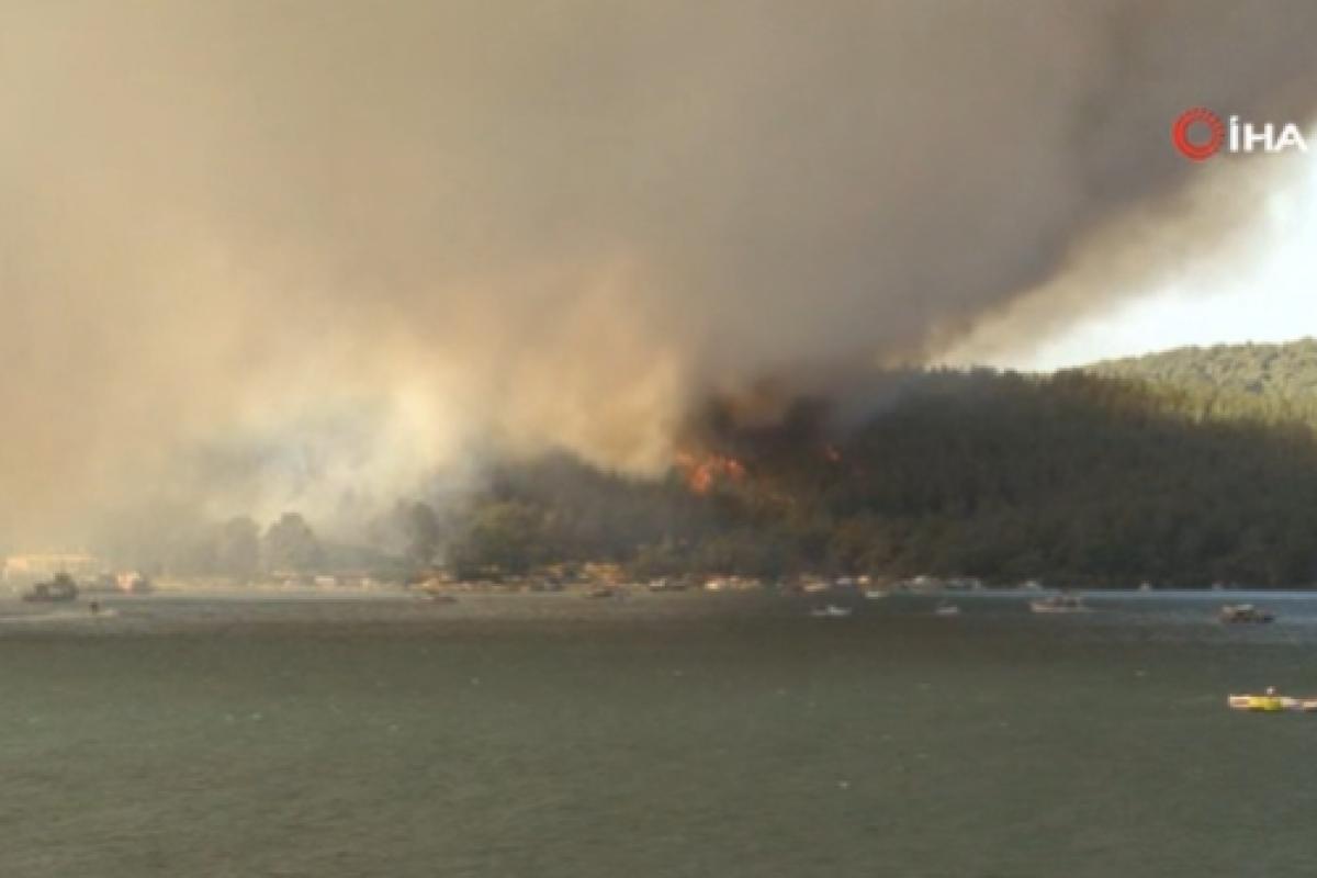 Milas'ta orman yangını...Oteldeki vatandaşlar teknelerle tahliye ediliyor