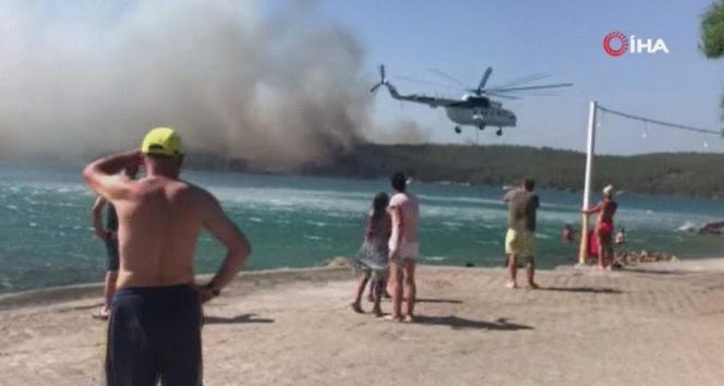 Bodrumdaki yangın otellere yaklaştı, müşteriler tahliye ediliyor