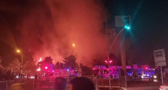 Başakşehirde iş yerinde çıkıp ormanlık alana sıçrayan yangın söndürüldü