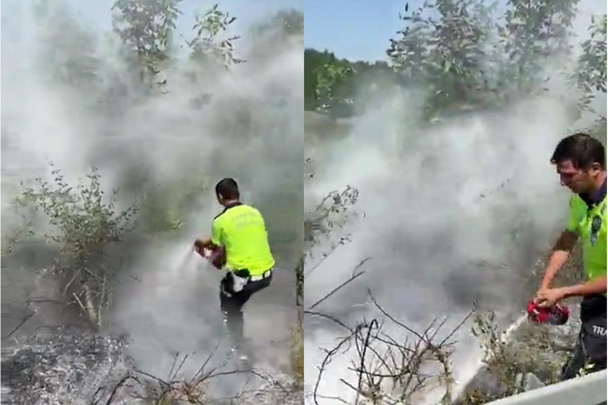 Polisler yangını büyümeden söndürdü