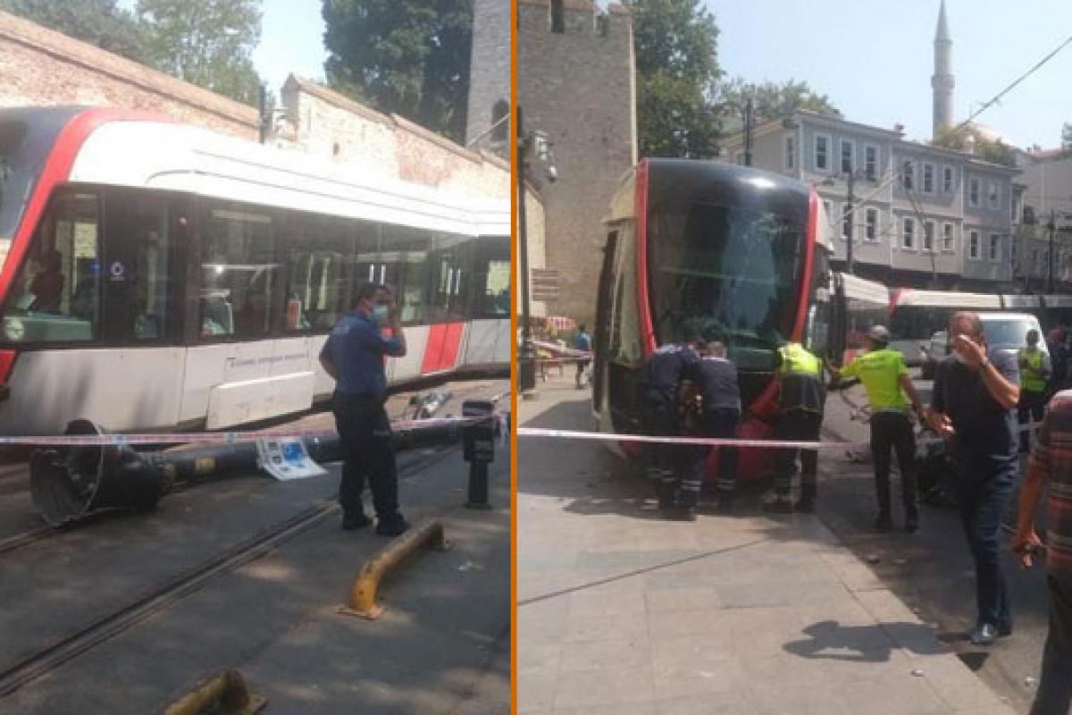 İstanbul'da tramvay raydan çıktı: Vatandaşlar panikle kaçtı