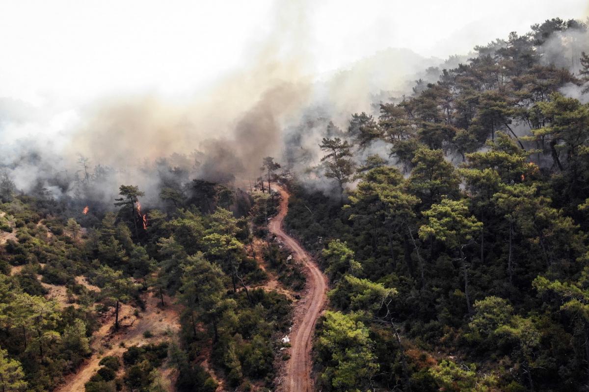 Acı tablo havadan görüntülendi, her yeri kaplayan dumanlar yürekleri dağlıyor