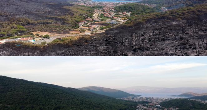 Marmarisin yangın öncesi ve sonrası havadan görüntüleri, felaketin boyutunu gözler önüne serdi