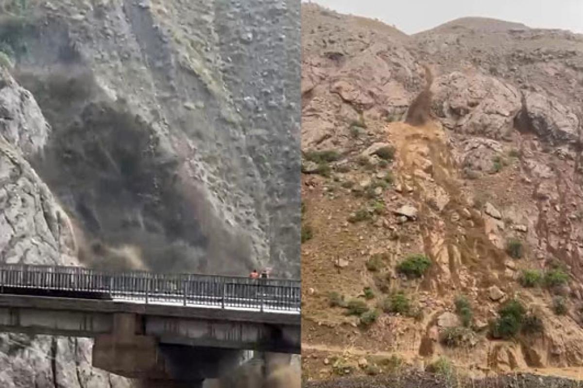 Hakkari-Van karayolunda toprak kayması böyle görüntülendi