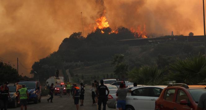 Alevler Milasta bulunan termik santrale ilerliyor