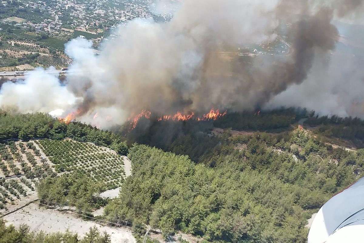 Hatay'da orman yangınına müdahale ediliyor
