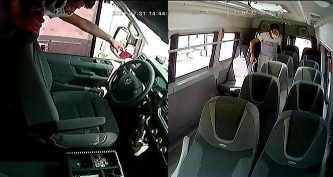 Bursada yolcu gibi bindiği minibüste böyle hırsızlık yaptı