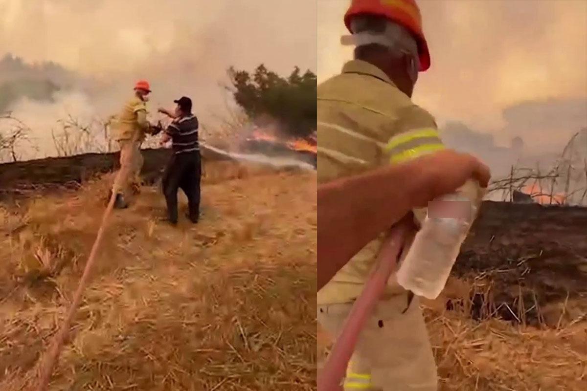 Su içmeyi reddedip orman yangınına kahramanca müdahale etti