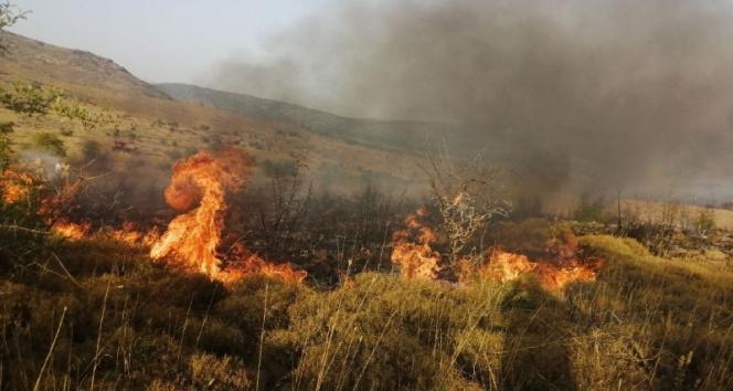 Aliağada makilik alanda çıkan yangını söndürme çalışmaları devam ediyor