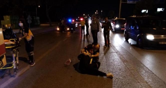 Motosikletli kadın ölümden döndü