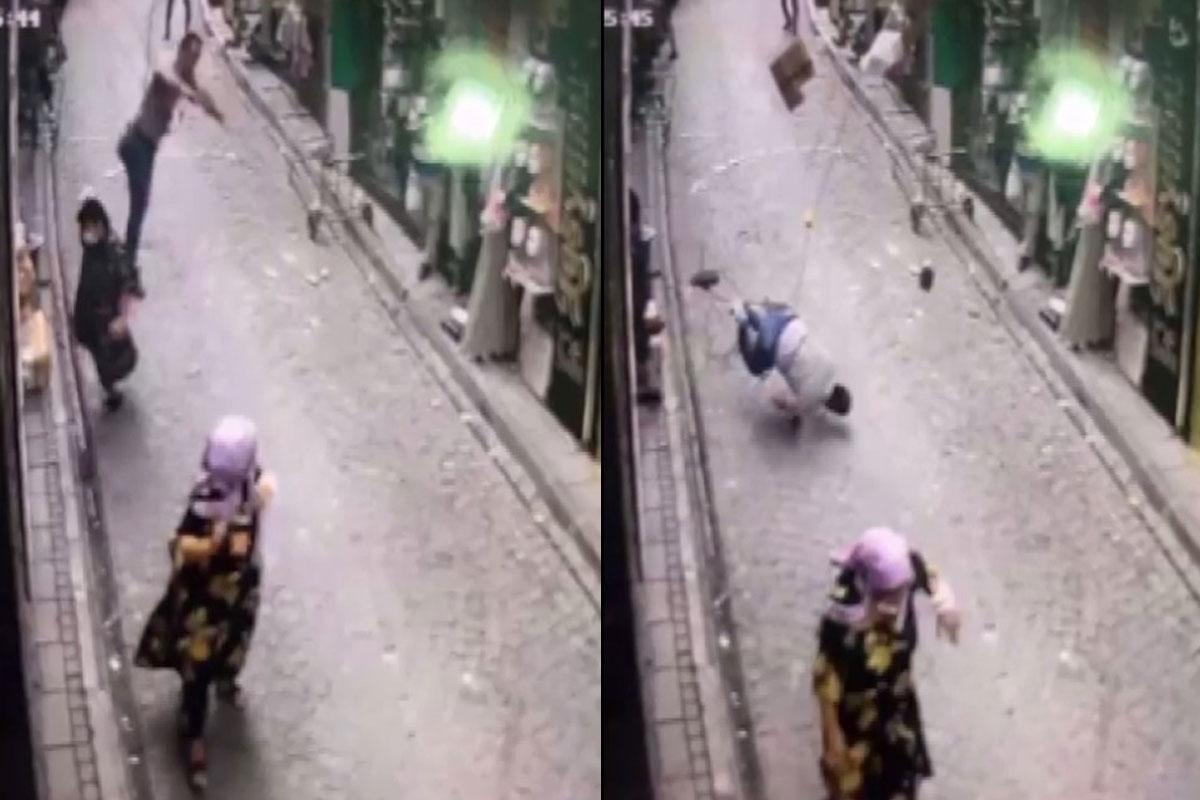 Dengesini kaybetti klimayla birlikte aşağı düştü, yaşlı kadın son anda kurtuldu